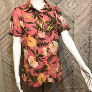 Columbia M hawaiian floral short sleeve button up